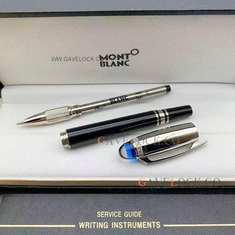 New Copy Montblanc Starwalker Rollerball Pen Silvet Cap Blue Top