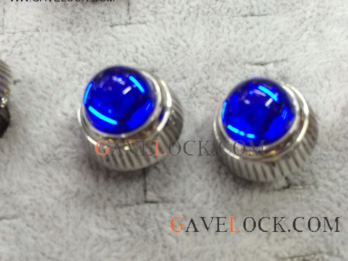 Buy Cartier Cufflinks / Silver & Blue Sapphire / Luxury Replica Cufflinks